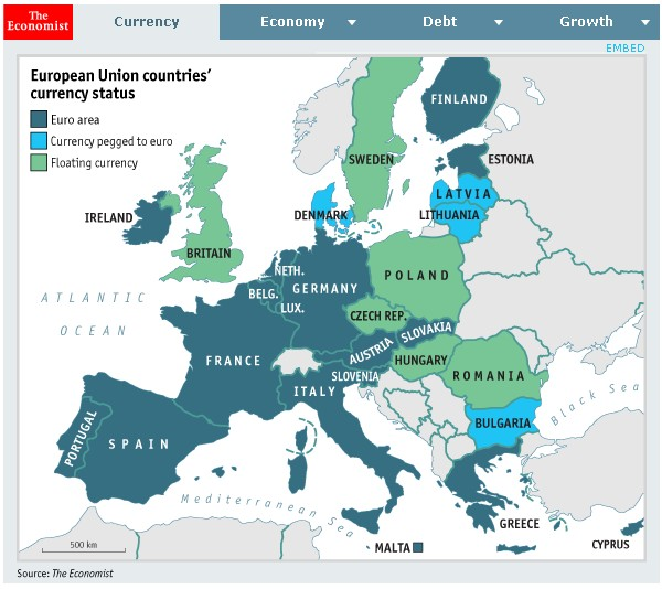 European Union Countries Currency Status