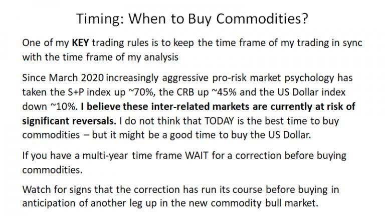 Timing - When To Buy Commodities