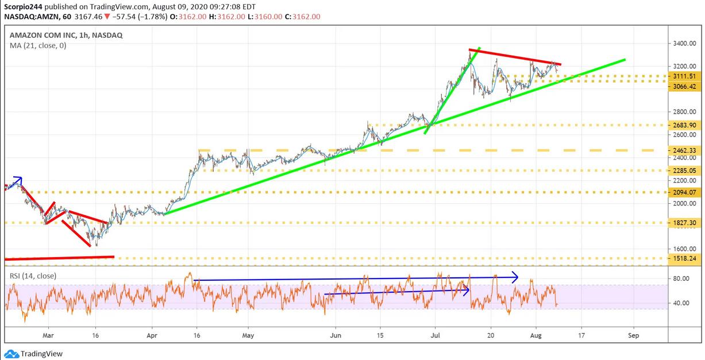 Amazon Inc 1 Hr Chart