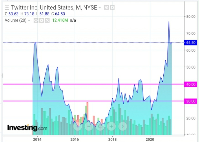 Twitter Inc Monthly Chart