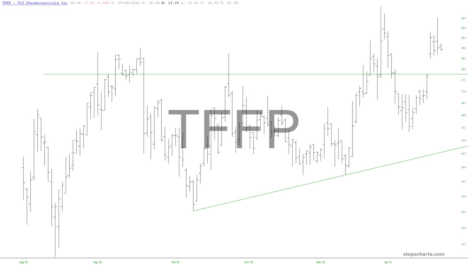 TFF Pharmaceuticals Inc Daily Chart.