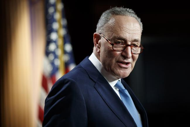 © Bloomberg. Senate Minority Leader Chuck Schumer, a Democrat from New York, speaks during a news conference at the U.S. Capitol in Washington, D.C., U.S., on Wednesday, Jan. 6, 2021. Congressis meeting today to certifyJoe Bidenas the winner of the 2020 presidential election, with scores of Republican lawmakers preparing to challenge the tally in a number of states during what is normally a largely ceremonial event.