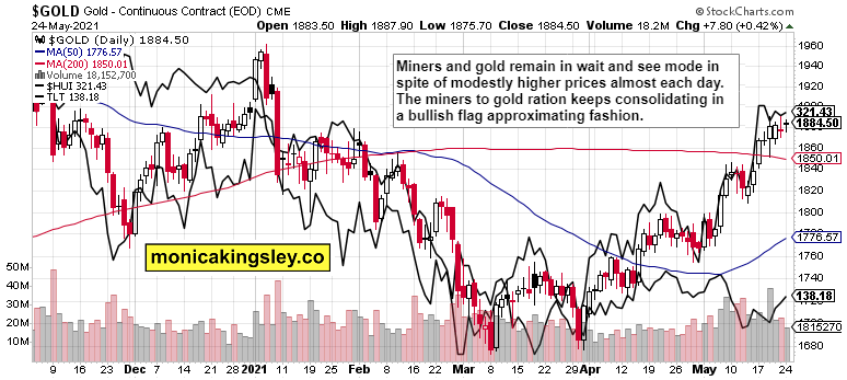 Gold, HUI And LTL Daily Combined Chart