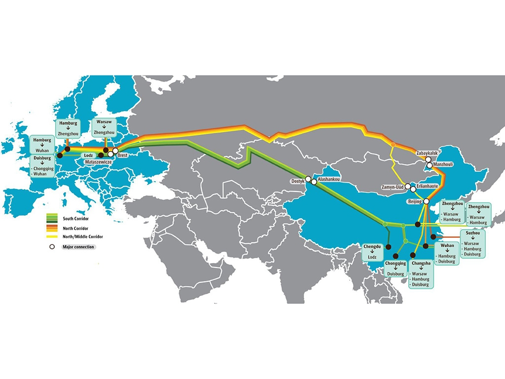 Map of UPS intermodal rail freight routes between China and Europe.