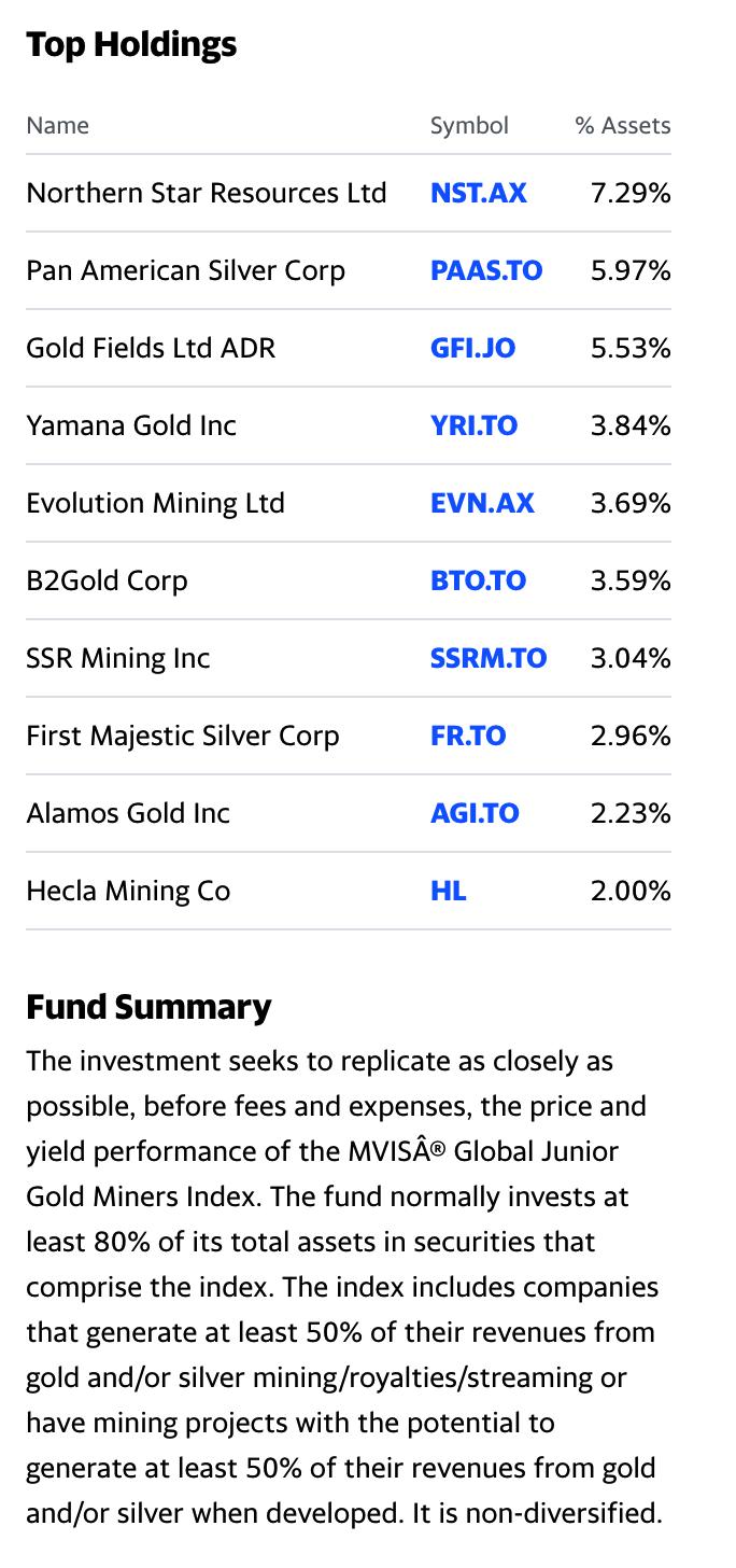 GDXJ Top Holdings