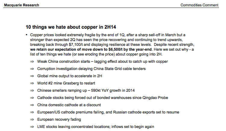 Copper In 2014