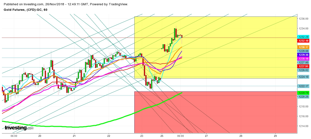Gold Futures 1 Hr. Chart - Expected Trading Zones