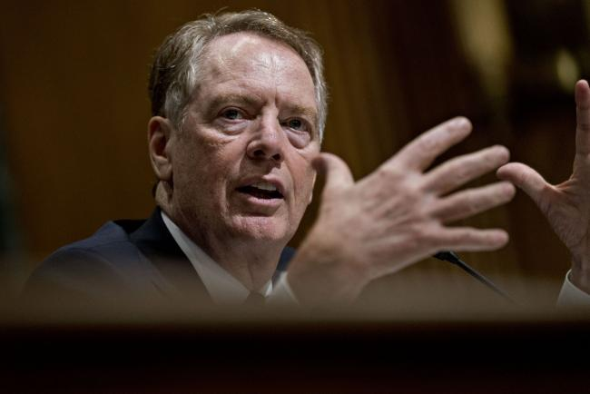 © Bloomberg. Robert Lighthizer, U.S. trade representative, speaks during a Senate Finance Committee hearing in Washington, D.C., U.S., on Tuesday, June 18, 2019. President Donald Trump's top trade envoy will be in the congressional hot seat for two days this week, giving lawmakers the chance to grill him about the prospects for a deal with China, as well as various punitive measures threatened by his boss. Photographer: Andrew Harrer/Bloomberg