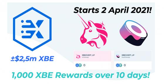 EURxb.Finance to distribute 1,000 XBE liquidity rewards on Uniswap and Sushiswap