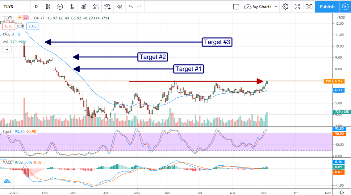 TLYS Stock Price Chart