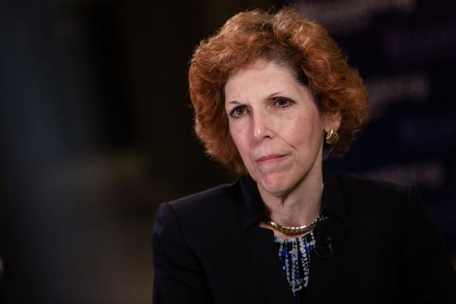 """© Bloomberg. Loretta Mester, president of the Federal Reserve Bank of Cleveland, pauses during a Bloomberg Television interview at the French central bank and Global Interdependance Center (GIC) conference in Paris, France, on Monday, May 14, 2018. European Central Bank policy maker Francois Villeroy de Galhau said the first interest-rate increase could come """"some quarters, but not years"""" after policy makers end their bond-buying program. Photographer: Marlene Awaad/Bloomberg"""