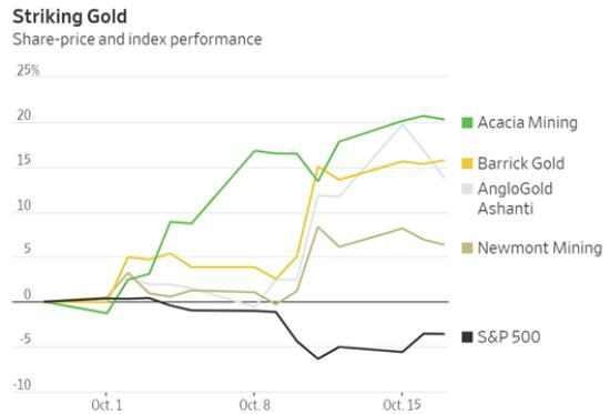 Gold Miners Share Price and Index Performance