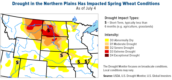 Drought in the northern plains has impacted spring wheat conditions